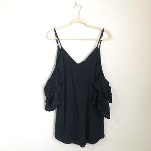 American Threads Cold Shoulder Black Mini Dress